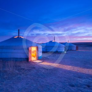 A Mongolian ger in the evening - Nature Stock Photo Agency