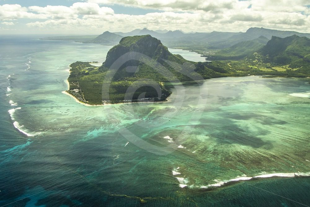 Le Morne underwater waterfall in Mauritius from the sky - Nature Stock Photo Agency