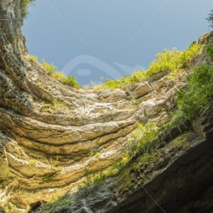 View from the bottom of the gouffre of Padirac - Nature Stock Photo Agency